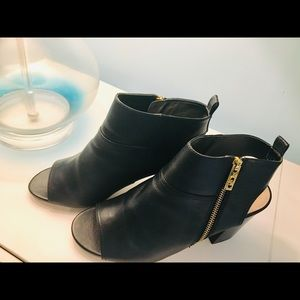 Cole Haan Open Toed Booties Black Leather size 9.5
